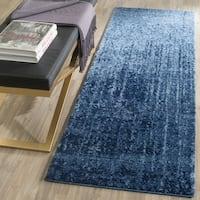 Safavieh Retro Mid-Century Modern Abstract Light Blue/ Blue Distressed Rug - 2'3 x 7'
