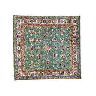 Pure Wool Square Super Kazak Geometric Design Rug (5'9 x 6')