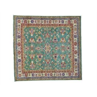 Pure Wool Square Super Kazak Geometric Design Rug (5'9 x 6')
