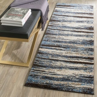 Safavieh Retro Modern Abstract Cream/ Blue Distressed Rug - 2'3 x 7'