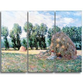 Design Art 'Claude Monet - Haystacks' Landscape Canvas Arwork