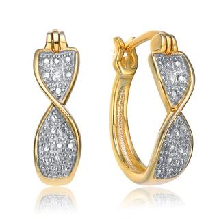 Collette Z Gold Plated Cubic Zirconia Twist Hoop Earrings
