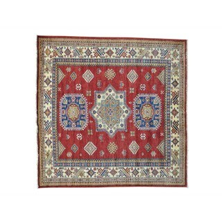 Red Pure Wool Super Kazak Geometric Design Square Rug (6' x 6')