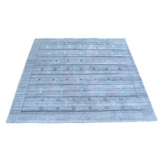 Square Wool and Rayon from Bamboo Silk Loomed Gabbeh Oriental Rug (4'1 x 4'3)