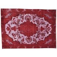 Handmade Overdyed Red Persian Tabriz Barjasta Oriental Rug