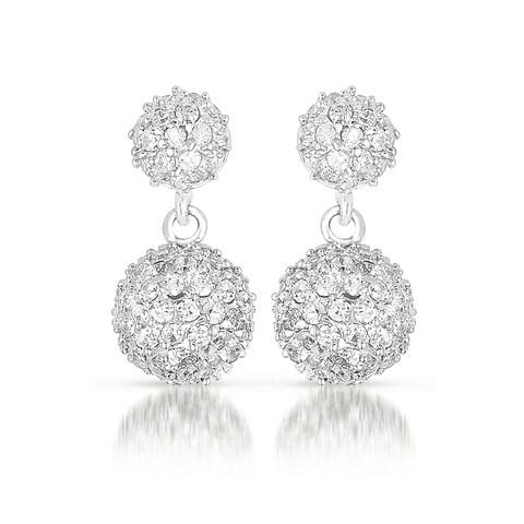 Collette Z Sterling Silver Clear Cubic Zirconia Ball Earrings