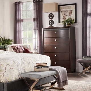 TRIBECCA HOME Marquette Brown Curved Rubberwood 5-drawer Chest