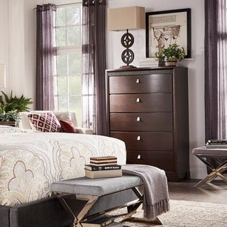 Marquette Brown Curved Rubberwood 5-drawer Chest by iNSPIRE Q Classic