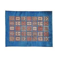 Denim Blue Garden Design Super Kazak Handmade Pure Wool Rug - 5' x 6'6