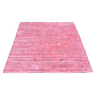 Square Wool and Rayon from Bamboo Silk Loomed Gabbeh Oriental Rug (4'2 x 4'2)