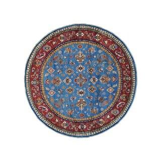 Pure Wool Round Super Kazak Tribal Design Oriental Rug (6'7 x 6'8)