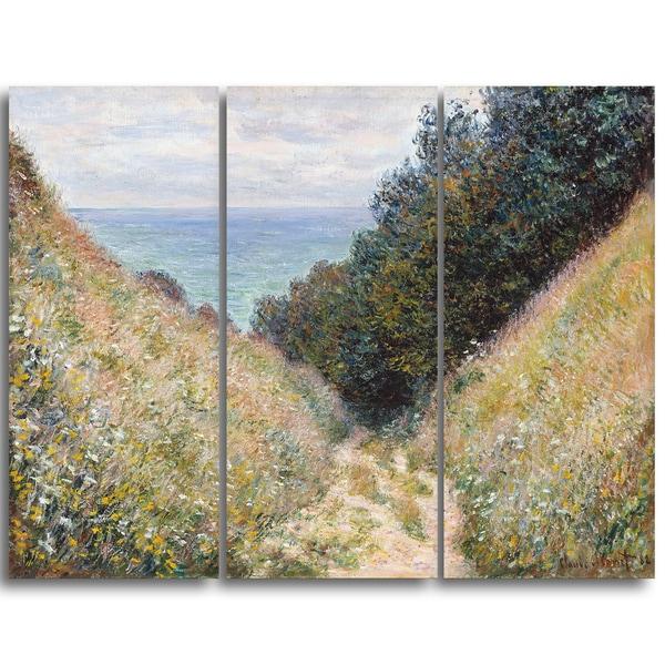 Design Art 'Claude Monet - Road at La Cavee Pournville' Landscape Canvas Arwork