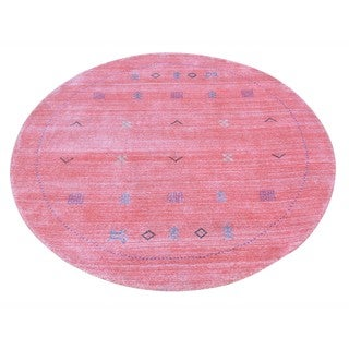 Round Salmon Wool and Rayon from Bamboo Silk Loomed Gabbeh Rug (4'1 x 4'1)