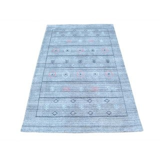 Wool and Rayon from Bamboo Silk Loomed Gabbeh Oriental Rug (3'1 x 5')