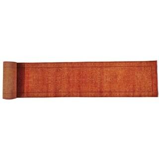 Burnt Orange Kashan XL Runner Wool and Silk Handmade Rug (2'7 x 23'2)