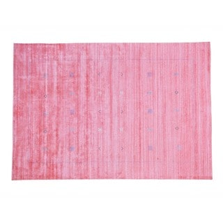 Salmon Wool and Rayon from Bamboo Silk Loomed Gabbeh Oriental Rug (6'2 x 9')