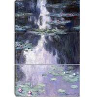 Design Art 'Claude Monet - Water Lilies' Canvas Art Print - 28Wx36H Inches - 3 Panels