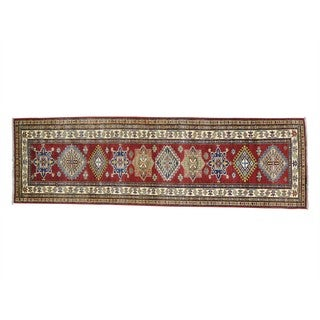 Handmade Runner Geometric Design Super Kazak Pure Wool Rug (2'6 x 8'4)