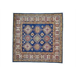 Denim Blue Square Super Kazak Handmade Oriental Rug (5' x 5')