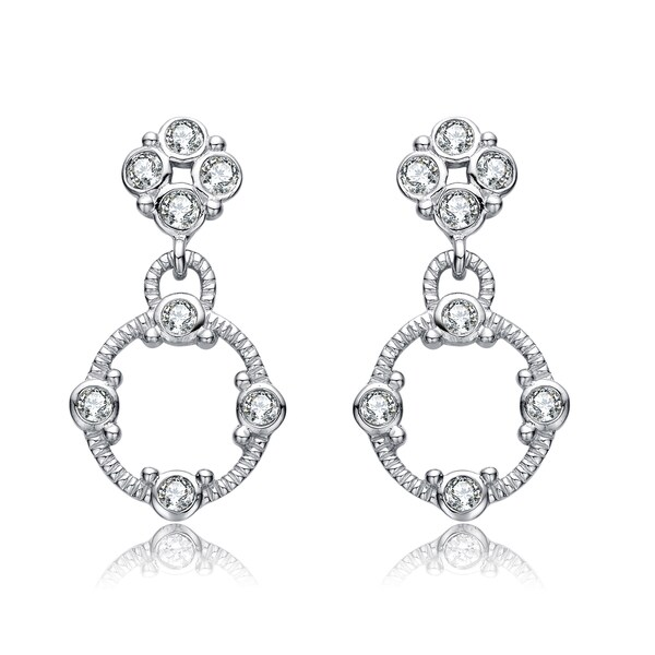 Collette Z Sterling Silver Cubic Zirconia Accented Dangling Earrings