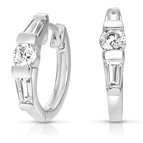 Collette Z Sterling Silver Cubic Zirconia Solitaire Hoops