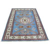 Handmade Pure Wool Tribal Design Oriental Rug Super Kazak - 3'4 x 4'10