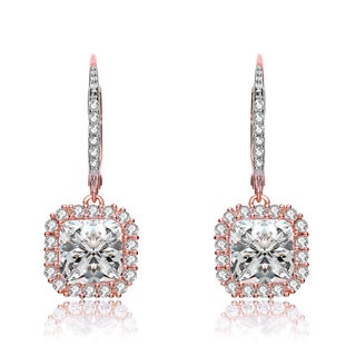 Collette Z Rose Plated Clear Cubic Zirconia Square Drop Earrings
