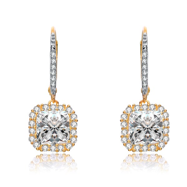 Collette Z Gold Plated Clear Cubic Zirconia Square Drop Earrings