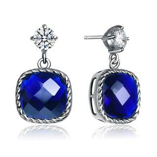 Collette Z Sterling Silver Square Deep Blue Cubic Zirconia Drop Earrings