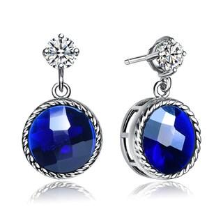 Collette Z Sterling Silver Circular Deep Blue Cubic Zirconia Drop Earrings
