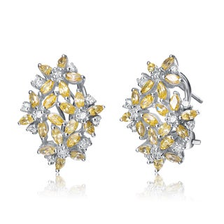 Collette Z Sterling Silver Clear and Yellow Cubic Zirconia Cluster Earrings