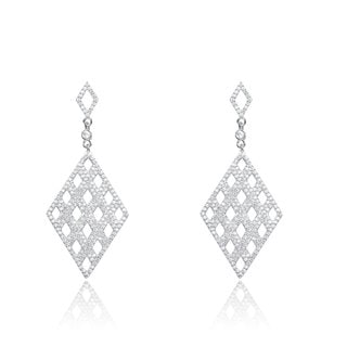 Collette Z Sterling Silver Cubic Zirconia Waffle Earrings