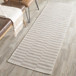 Safavieh Hand-Woven Montauk Ivory/ Light Grey Cotton Rug (2'3 x 7')