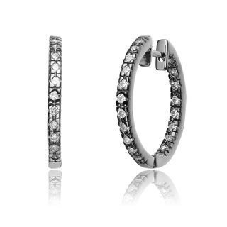 Collette Z Sterling Silver Cubic Zirconia Hoop Earrings
