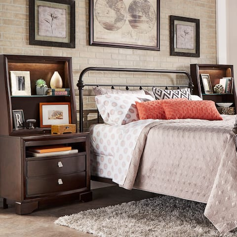 Marquette Traditional Lighted Pull-out Accent Bedside Table with Hutch by iNSPIRE Q Classic