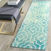 Safavieh Handmade Dip Dye Watercolor Vintage Turquoise/ Ivory Wool Rug - 2'3 x 6'