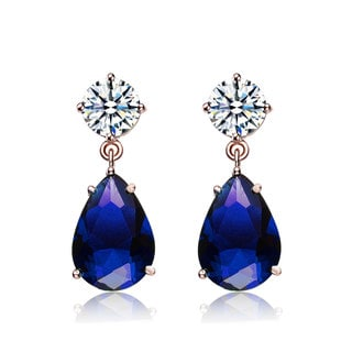 Collette Z Sterling Silver Clear & Dark Blue Cubic Zirconia Dangling Earrings