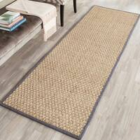"Safavieh Casual Natural Fiber Hand-Woven Natural / Dark Grey Seagrass Rug - 2'6"" x 6'"