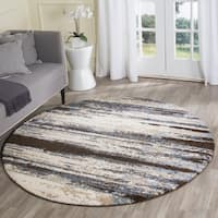 Safavieh Retro Modern Abstract Cream/ Blue Distressed Rug - 8' Round