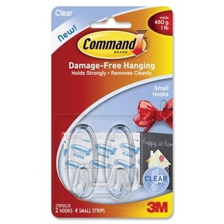 Command Small Clear Hooks with Clear Strips 17092CLR - 2/PK