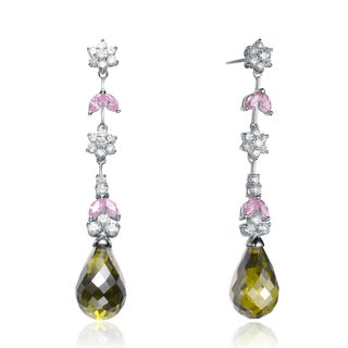 Collette Z Sterling Silver Pink & Green Cubic Zirconia Dangling Earrings