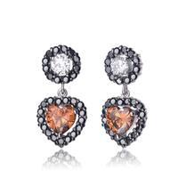 Collette Z Sterling Silver Clear & Copper Cubic Zirconia Heart Drop Earrings
