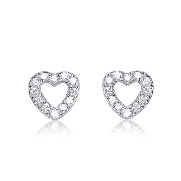 Collette Z Sterling Silver Cubic Zirconia Heart Earrings