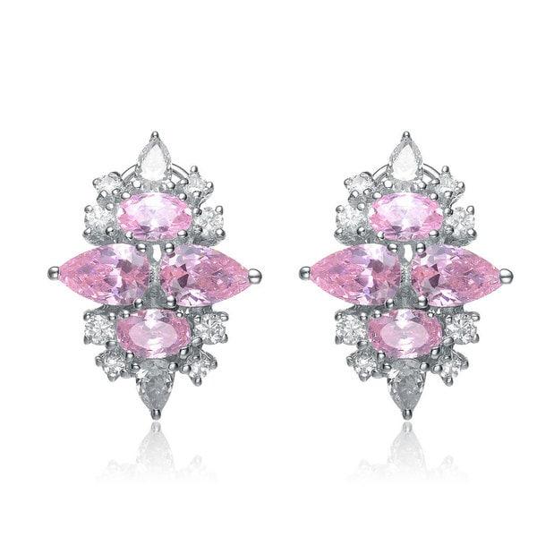 Collette Z Sterling Silver Pink Cubic Zirconia Earrings