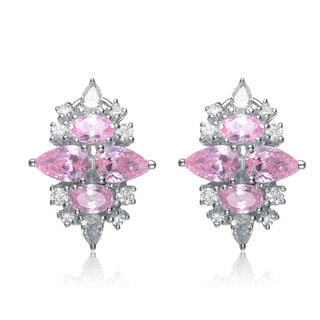 Collette Z Sterling Silver Pink Cubic Zirconia Earrings