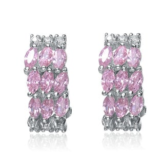 Collette Z Sterling Silver Pink Cubic Zirconia Cluster Earrings