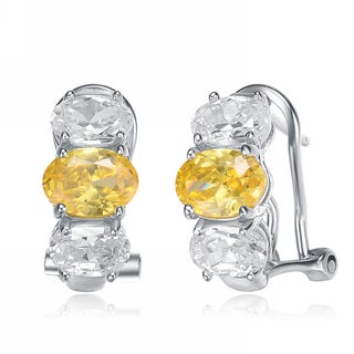 Collette Z Sterling Silver Rhodium Plated Yellow and White Omega Earrings