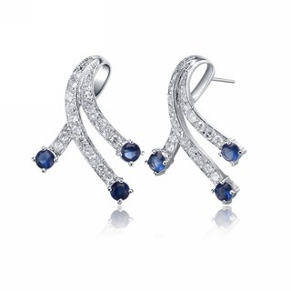 Collette Z Sterling Silver Cubic Zirconia and Blue Ribbon Earrings