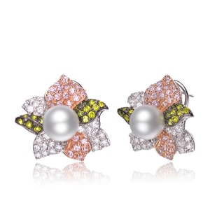 Collette Z Sterling Silver Cubic Zirconia Tri-Color Neutral Earrings