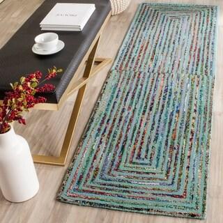 Safavieh Handmade Nantucket Teal Cotton Rug (2'3 x 6')